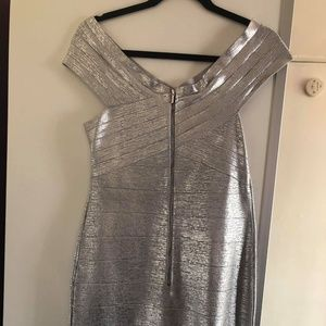BeBe Brushed Silver Mid Length dress